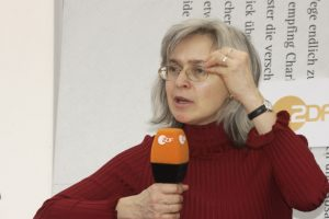 Anna Politkowskaja (Photo: 2005) / Wikimedia Commons - Copyright: Das blaue Sofa / Club Bertelsmann